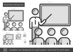Business training line icon Stock Illustration