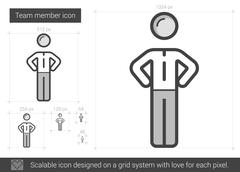 Team member line icon Stock Illustration