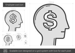 Employee cost line icon Stock Illustration