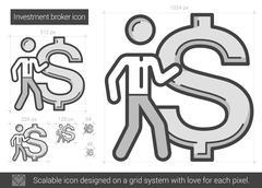 Investment broker line icon Stock Illustration