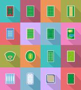 Court playground stadium and field for sports games flat icons vector illustr Stock Illustration