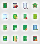 Ccourt playground stadium and field for sports games flat icons vector illust Stock Illustration