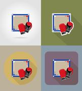 Boxing ring flat icons vector illustration Stock Illustration