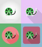 Gardening tool hose for watering flat icons vector illustration Stock Illustration
