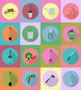 Gardening tools flat icons vector illustration Stock Illustration