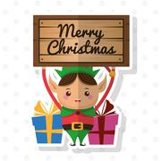 Elf cartoon of Christmas season design Stock Illustration