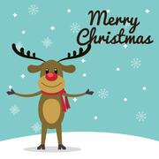 Reindeer cartoon of Christmas season design Stock Illustration