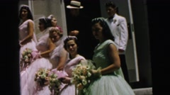 1964: marriage escorts small childrens flowers bride groom beautiful CAMDEN Stock Footage