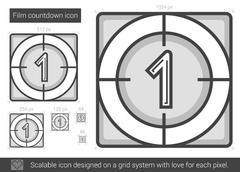Film countdown line icon Stock Illustration