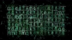 Abstraction of a green-white letters on black background Stock Footage