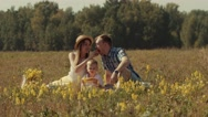 Young family on a picnic in the field Stock Footage