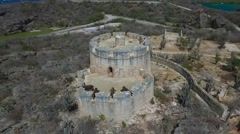 Aerial drop and tilt of Fort Beekenburg on Curacao Stock Footage