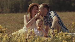 Happy family enjoying their weekend in nature Stock Footage