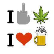 I hate drugs, I like alcohol. Fuck symbol of hatred and marijuana leaf. Heart Stock Illustration