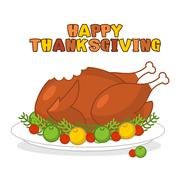 Happy Thanksgiving. Roasted turkey. fowl on plate. Baked wildfowl with apples Stock Illustration
