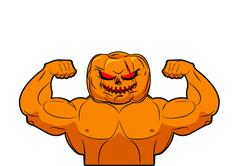 Powerful Pumpkin. Fruit bodybuilding with muscles. Vegetable with large hands Stock Illustration