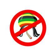 Stop Rastaman. Prohibited Stoned drug man. Dangers red sign rasta hat and joi Stock Illustration