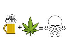 Alcohol and drugs is death. Mug of beer and marijuana leaf is equal to skull  Stock Illustration