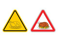 Warning sign of attention roasted turkey. Dangers yellow sign crustacean. Bak Piirros