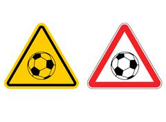 Warning sign football attention. Dangers yellow sign game. Soccer ball on red Stock Illustration
