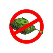 Stop war. Prohibited military action. Red prohibition sign. Crossed-tank. Ban Stock Illustration