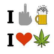 I hate alcohol, I like drugs. Fuck symbol of hatred and mug of beer. Heart an Stock Illustration