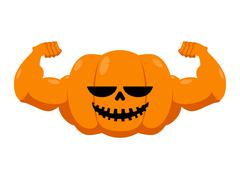 Pumpkin with muscles. Fitness Halloween. Vegetable with large hands. Powerful Piirros