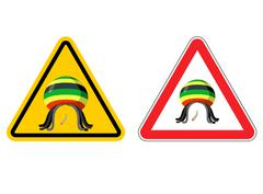 Warning sign Rastaman. Attention Stoned drug man. Dangers yellow sign rasta h Piirros