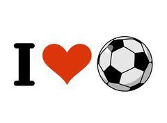 I love soccer. Heart and ball. Logo for sports fans of football Stock Illustration