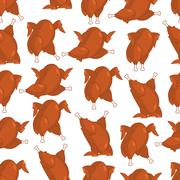Roasted turkey seamless pattern. fowl in different poses ornament. Baked chic Stock Illustration