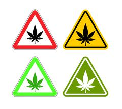 Warning sign attention drugs. Dangers of marijuana and yellow sign. cannabis  Piirros