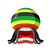 Rastaman screams. Rasta cry. Open your mouth and teeth. Loud scream. Rastafar Stock Illustration