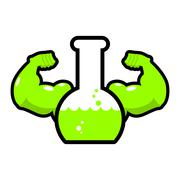 Green powerful mutagen. Strong chemical flask. Beaker with muscles. Liquid an Piirros