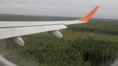 Landing of the aircraft, the view from the window Stock Footage