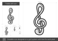 Treble clef line icon Stock Illustration