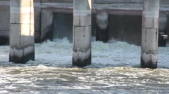 The flow of water in a sluice on the river Stock Footage