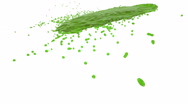 Green fluid stream hits the surface in slow motion. nectar Stock Footage