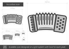 Accordion line icon Stock Illustration