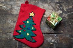 Christmas sock and gift Stock Photos
