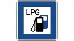 Footage of a petrol station with liquefied petroleum gas-LPG traffic sign Stock Footage