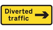 Footage of a diverted traffic sign, the shot is coming into focus Stock Footage