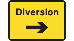 Footage of a diversion traffic sign, the shot is coming into focus Stock Footage