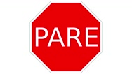Footage of a STOP traffic sign in South America, the shot is coming into focus Stock Footage
