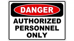 Footage of an authorized personnel only sign, the shot is coming into focus Stock Footage