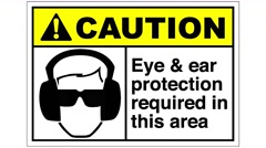 Footage of an eye and ear protection required sign,the shot is coming into focus Stock Footage