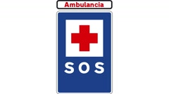 Footage of an SOS traffic sign, written ambulancia on it, emergency room Stock Footage