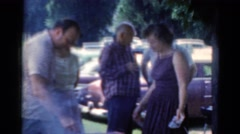 1964: picnic outdoor family feast open camp table food CALIFORNIA Stock Footage