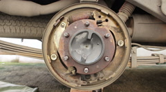 Car drum break system Stock Footage