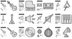 Music line icon set Piirros
