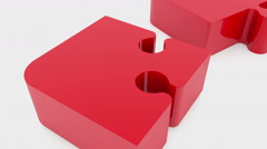 Moving puzzle pieces in red Stock Footage
